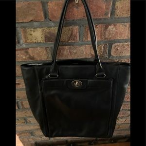 Black leather Kate Spade tote purse with wallet